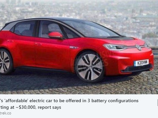 VW's 'affordable' electric car to be offered in 3 battery configurations starting at ~$30,000, repor