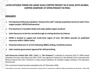 LATIN EXTENDS TERMS ON LARGE SCALE COPPER PROJECT IN JV DEAL WITH GLOBAL COPPER COMPANY AT MT03 PROJ