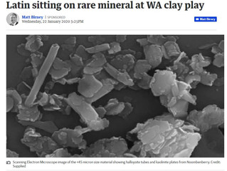 Latin sitting on rare mineral at WA clay play
