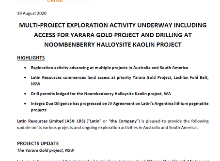 MULTI-PROJECT EXPLORATION ACTIVITY UNDERWAY INCLUDING ACCESS FOR YARARA GOLD PROJECT AND DRILLING AT