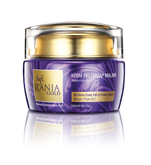Safi Rania Gold, Halal Skincare, Gold, Halal Packaging, Safi Rania Gold Night Cream, Night Cream