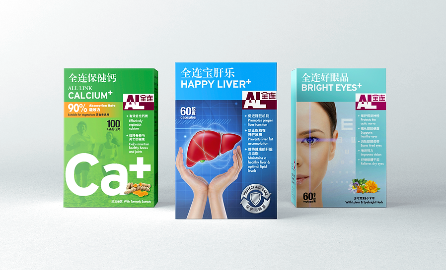 All Link, All Link Medical, All Link Packaging, Supplements Packaging, TCM Packaging, Bright Eyes+, Happy Liver+, Calcium+