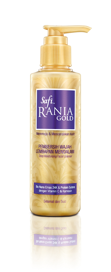 Safi Rania Gold, Halal Skincare, Gold, Halal Packaging, Safi Rania Gold Facial Cleanser, Facial Cleanser