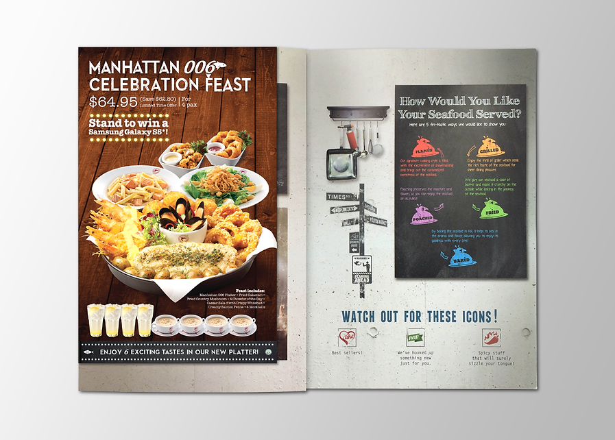 Manhattan Fish Market, MFM, Manhattan Fish Market Promotion, MFM, Manhattan Fish Market Menu Cover