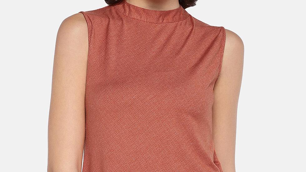 Ten on Ten Women's Sleeveless Orange Viscose Lycra Top