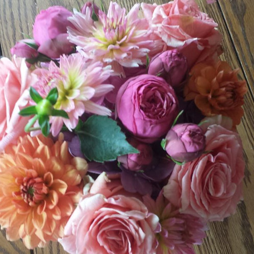 Summer Mix: Roses, Dahlias, Ranunculas in Bright Festive Colors