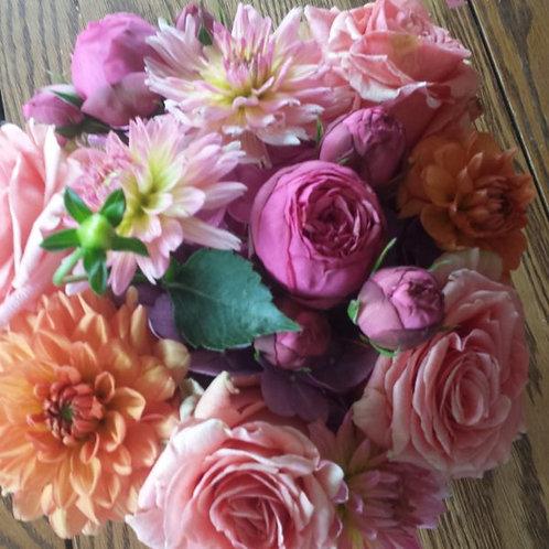Summer Mix: Roses, Dahlias, Ranunculas in Bright Festive Colors
