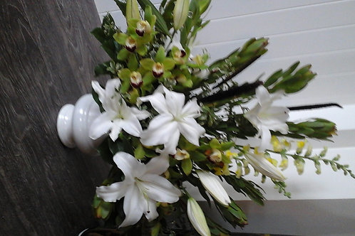 Funeral Spray with White Lilies