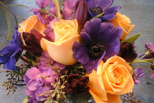 Centerpiece in Orange and Purple