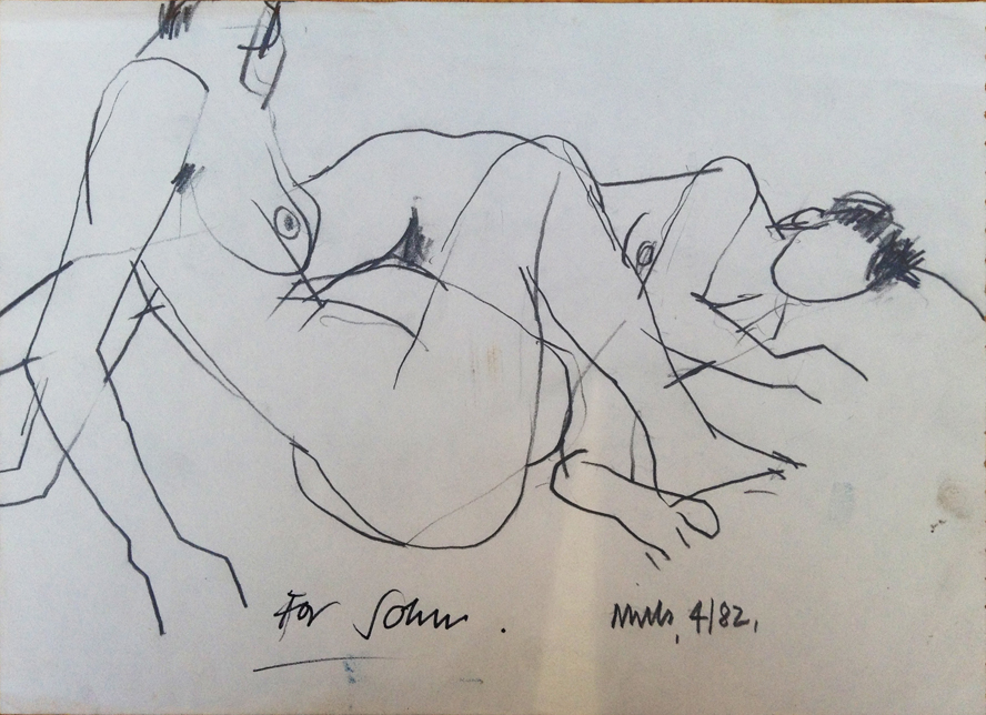 'For John' - Life Drawing by William Mills, Chelsea School Of Art 1982