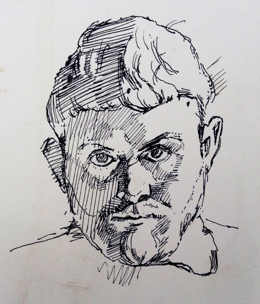 John Avis Self Portrait Ink 1957