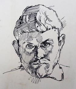 John Avis Self Portrait Ink 1957