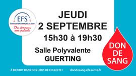 Jeudi 2 septembre: Don du sang à Guerting