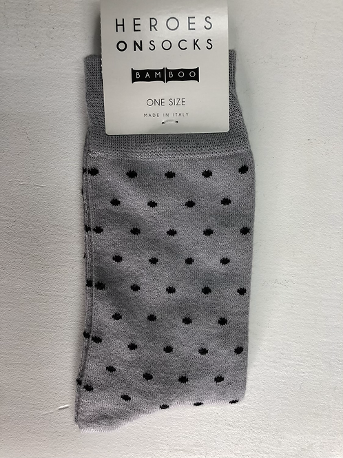 Heroes On Socks Bamboo Dot Grey