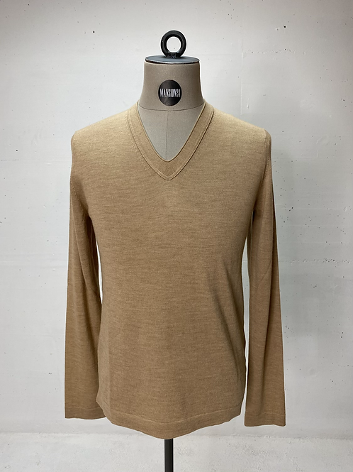 T of S Virgin Wool V-Neck Knit Sand