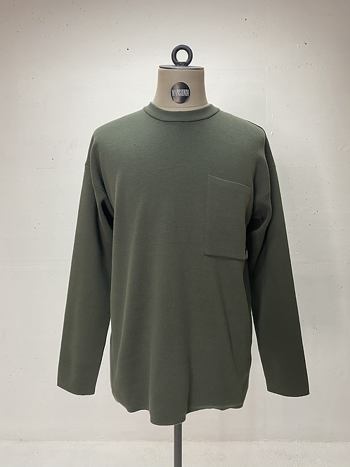 Drykorn Relaxed Knit Pocket Crew Army Green