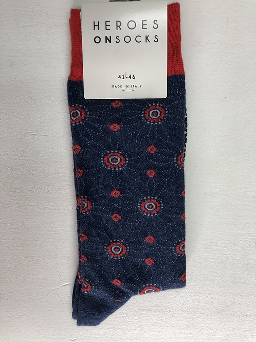Heroes On Socks Flower Navy/Red