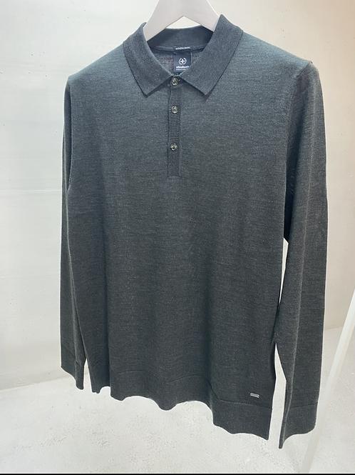 Strellson Knitted Polo Dk. Grey Mel.
