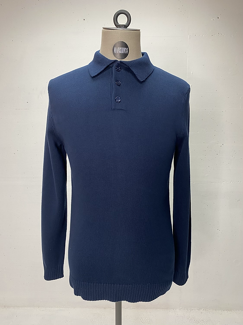 DENHAM Knitted Polo Navy