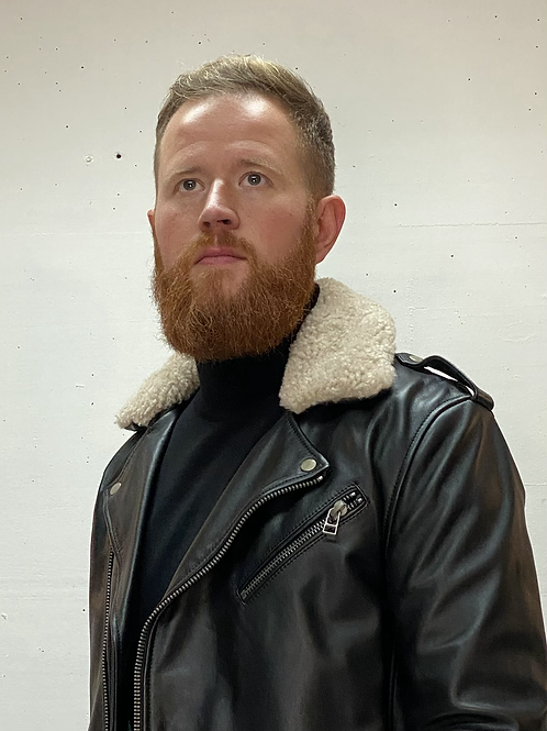 Goosecraft Fur Collar Biker Black