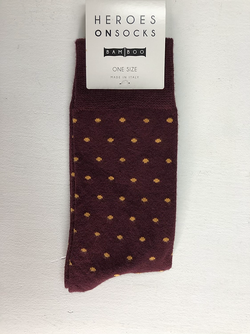 Heroes On Socks Bamboo Dot Burgundy
