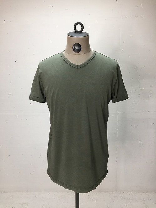 Drykorn V-Neck s/s Tee Washed Army Green