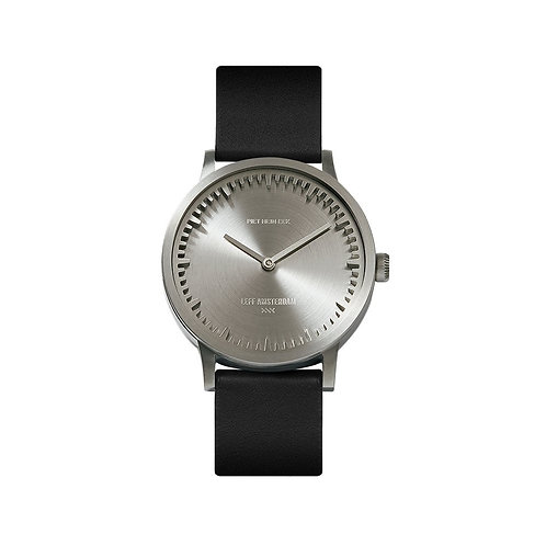 Leff Amsterdam Tube Watch Black Leather T32