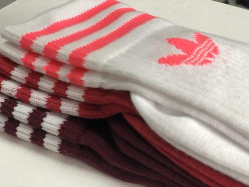 Adidas Logo Sock High 3 Pack White/Red/Burgundy