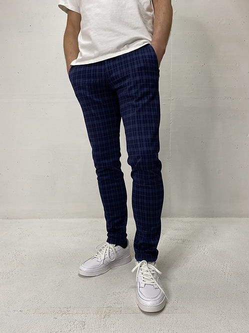 Drykorn Checkered Stretch Pants Navy