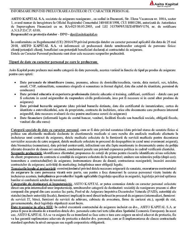 Informarea Asito Kapital privind prlucrarea dtlor cu cracter personal