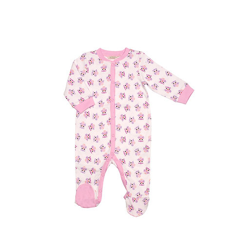 'Pink Owl' Footed Bodysuit