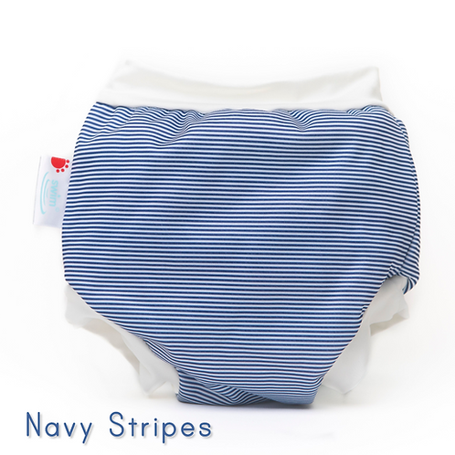 'Navy Stripes' Bambooty Swim Nappies