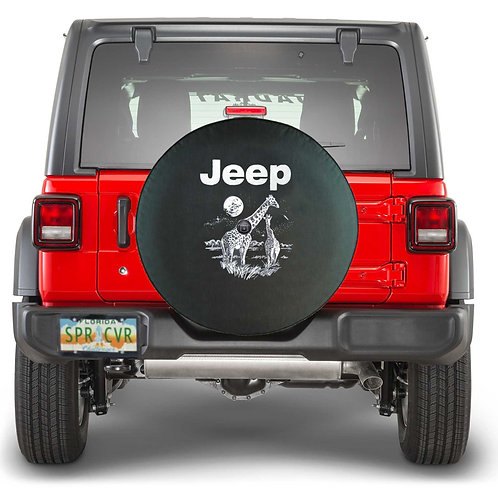 BR - Jeep w Animal - Black Denim Vinyl Tire Cover
