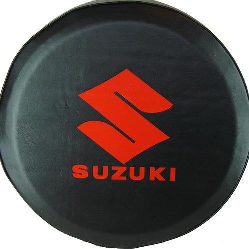 ABC Series Suzuki RED Logo on Tuxedo Black 35 mil Vinyl Tire Cover -
