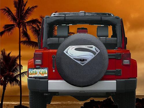 BR - Modern Superman Man - Black Denim Vinyl Tire Cover