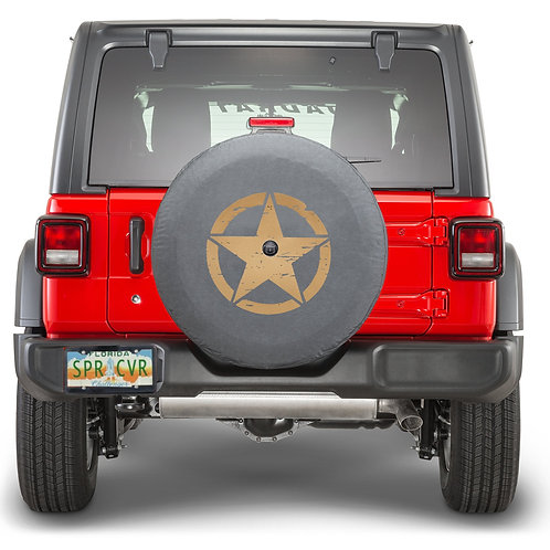 Brawny Series - Oscar Mike Jeep Star on Heavy Black Denim Tire Cover