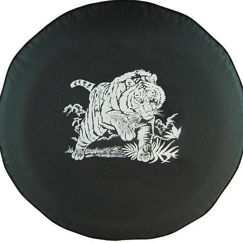 BR - Charging Tiger - HD Black Denim Vinyl Tire Cover