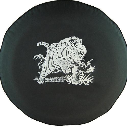BR - Charging Tiger - HDBlack Denim Vinyl Tire Cover