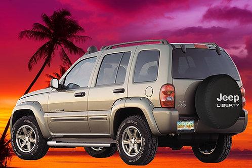 BR- Jeep Liberty - HDBlack Denim Vinyl Tire Cover
