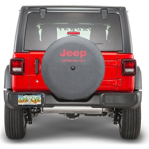 Brawny Series Jeep Wrangler on Black Denim Textured Vinyl Tire Cover Made in USA