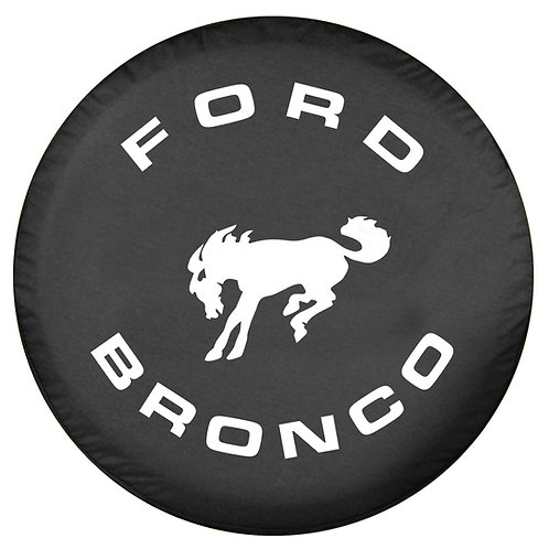 Brawny Series Full Size Bronco Logo on Matte Black Denim Textured Vinyl Tire Cov