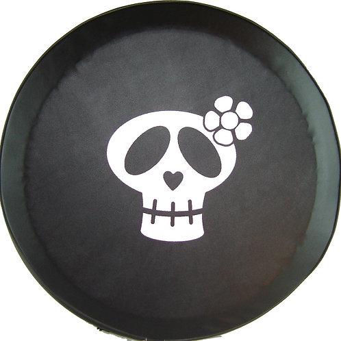 SpareCover ABC Series - Girly Skull- Heavy Black Vinyl Tire Cover