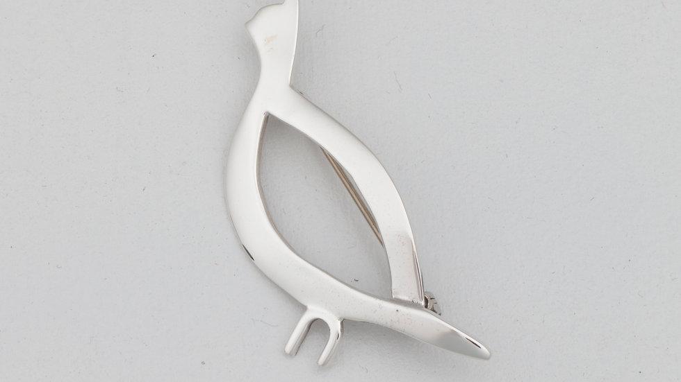 Silver Quail Pin