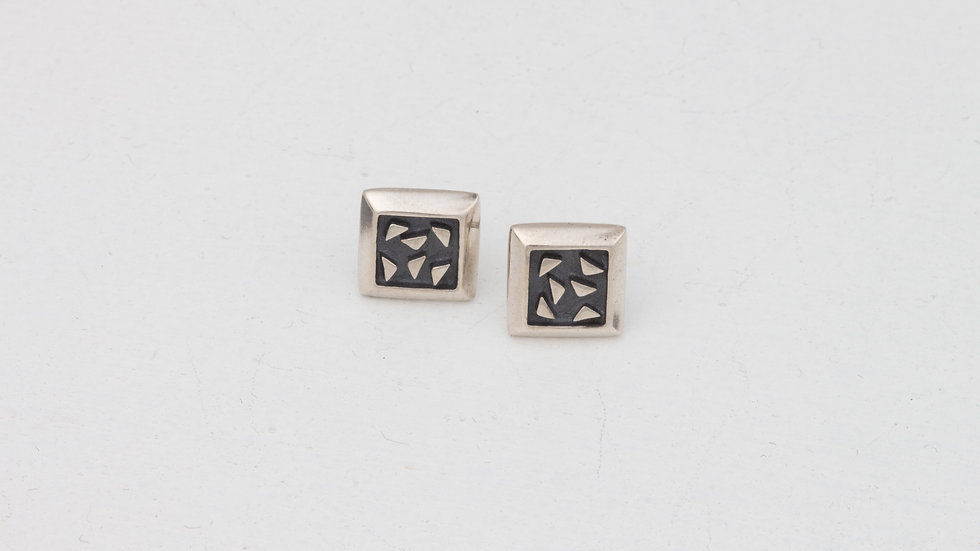 Lively Square Bits of Silver earrings