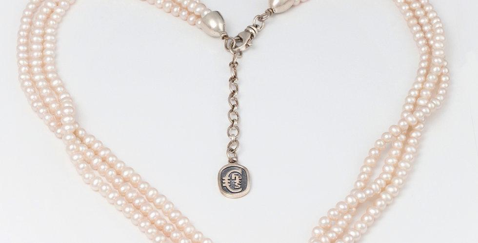 Valentina triple strand pearl necklace