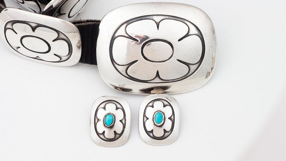 Vintage concha belt and earrings
