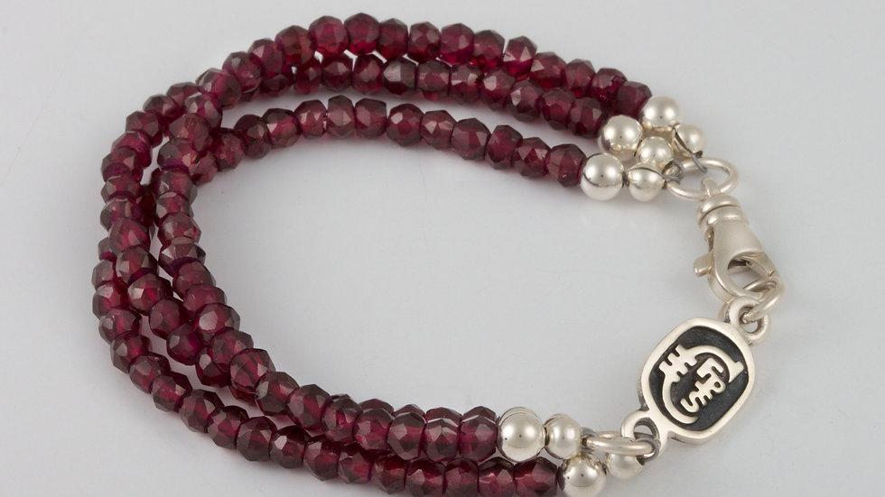 January Garnet Triple Strand Bracelet
