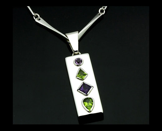 Patania sterling silver jewelry custom silver jewelry stained stained glass pendant rectangle aloadofball Gallery