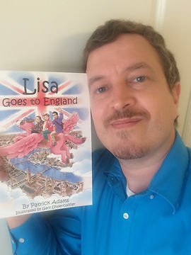 Patrick Adams with Lisa Goes to England Book