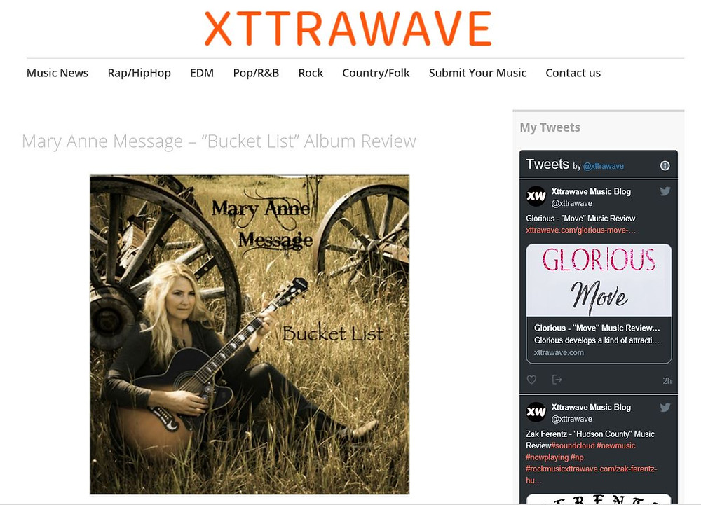 Xttrawave Music Blog on Mary Anne Message - Bucket List